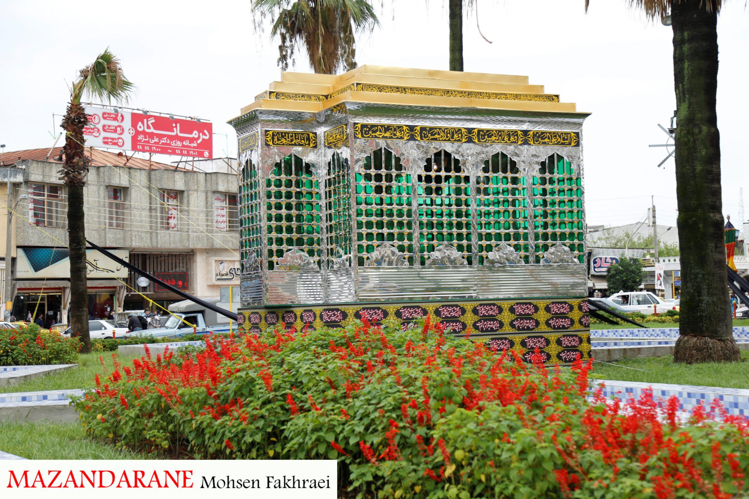 واحد زیباسازی شهرداری آمل در ایام محرم گل کاشت